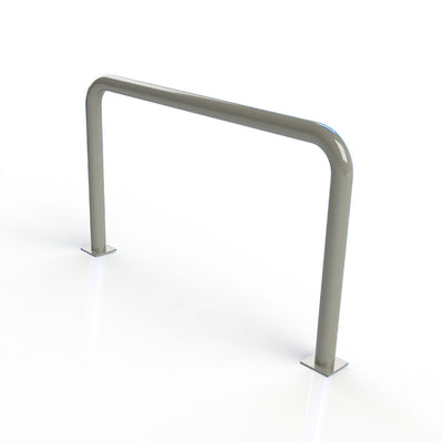 90mm tube static steel hooped security barrier in a Silver powder coated finish.