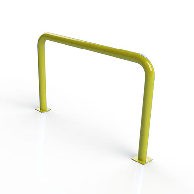 90mm tube static steel hooped security barrier in a Yellow powder coated finish.