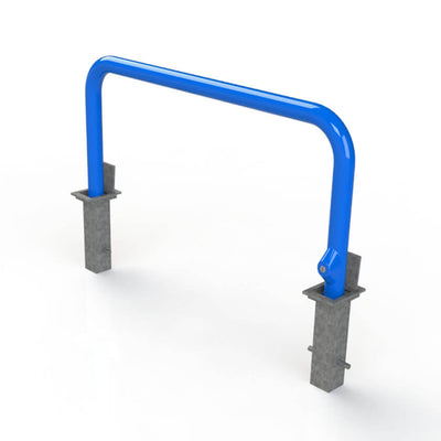 76mm tube removable hooped security barrier in Blue.