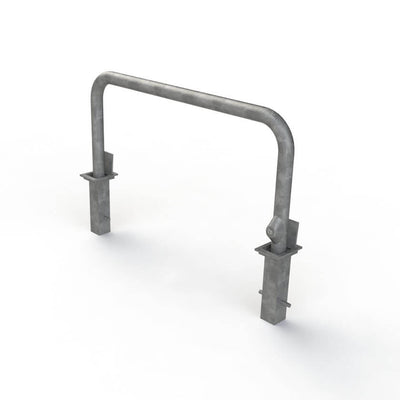 76mm tube removable hooped security barrier in a galvanised finish..