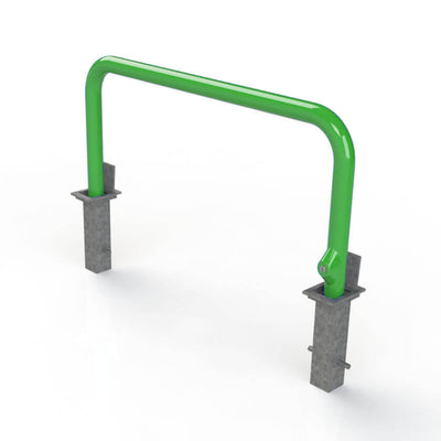 76mm tube removable hooped security barrier in Green.