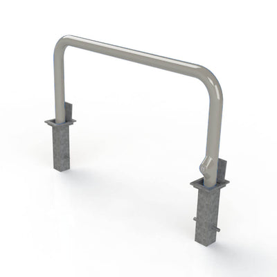 76mm tube removable hooped security barrier in Silver.