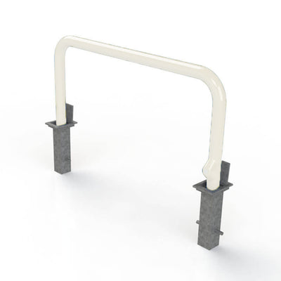 76mm tube removable hooped security barrier in White.