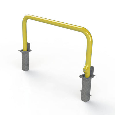 76mm tube removable hooped security barrier in Yellow.