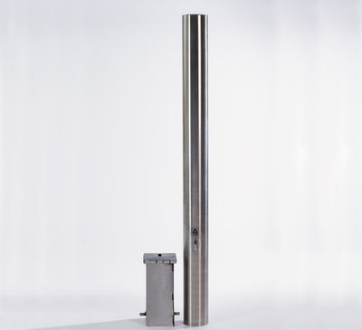 The stainless steel bollard side by side with the ground socket