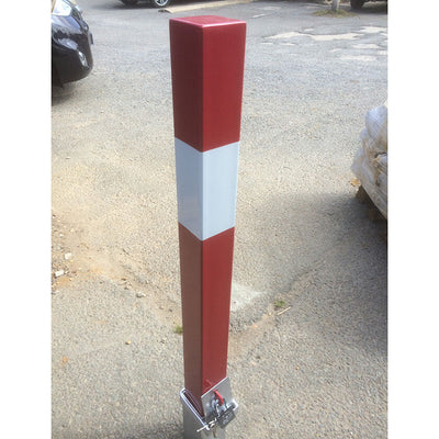 RLO-80 Square Removable bollard in a Red powder coated finish and White band