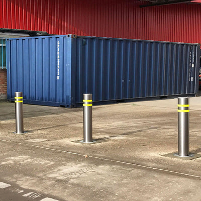 Easy-B semi automatic rising bollards in stainless steel.