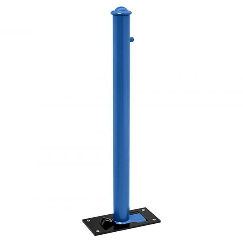 Agora soli-block fold down parking bollard in a Blue powder coated finish.