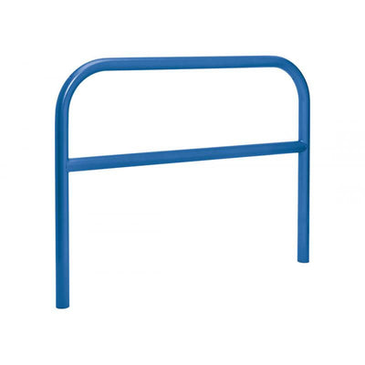 60mm static steel hoop barrier with a centre rail in Blue.