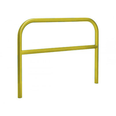 60mm static steel hoop barrier with a centre rail in Yellow.