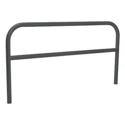 60mm static steel hoop barrier with a centre rail in Black.