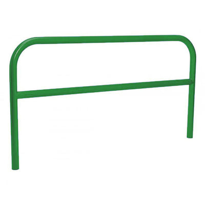 60mm static steel hoop barrier with a centre rail in Green.