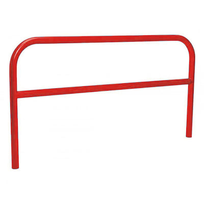 60mm static steel hoop barrier with a centre rail in Red.