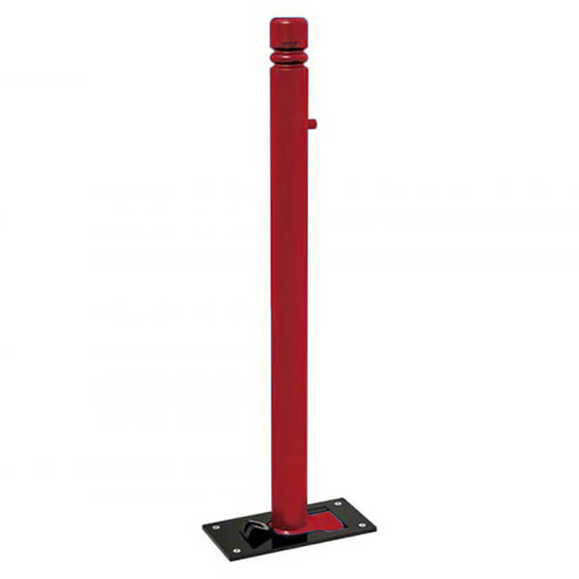 City soli-block fold down parking bollard in a Red powder coated finish.