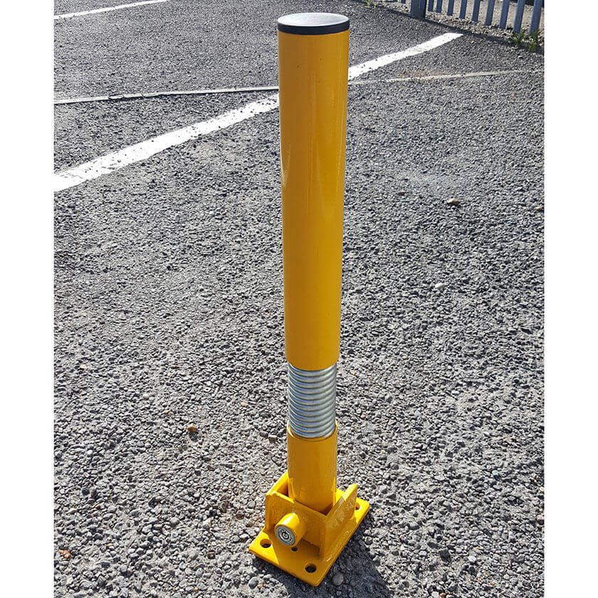 Bendy flexible fold down parking post in Yellow.