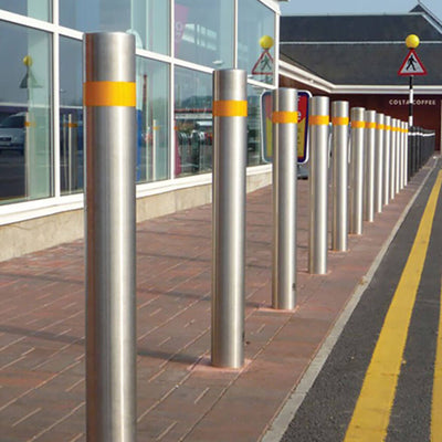 114mm diameter flat top Tesco stainless steel street bollards