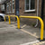 90mm tube static steel hoop barrier in a Yellow powder coated finish.