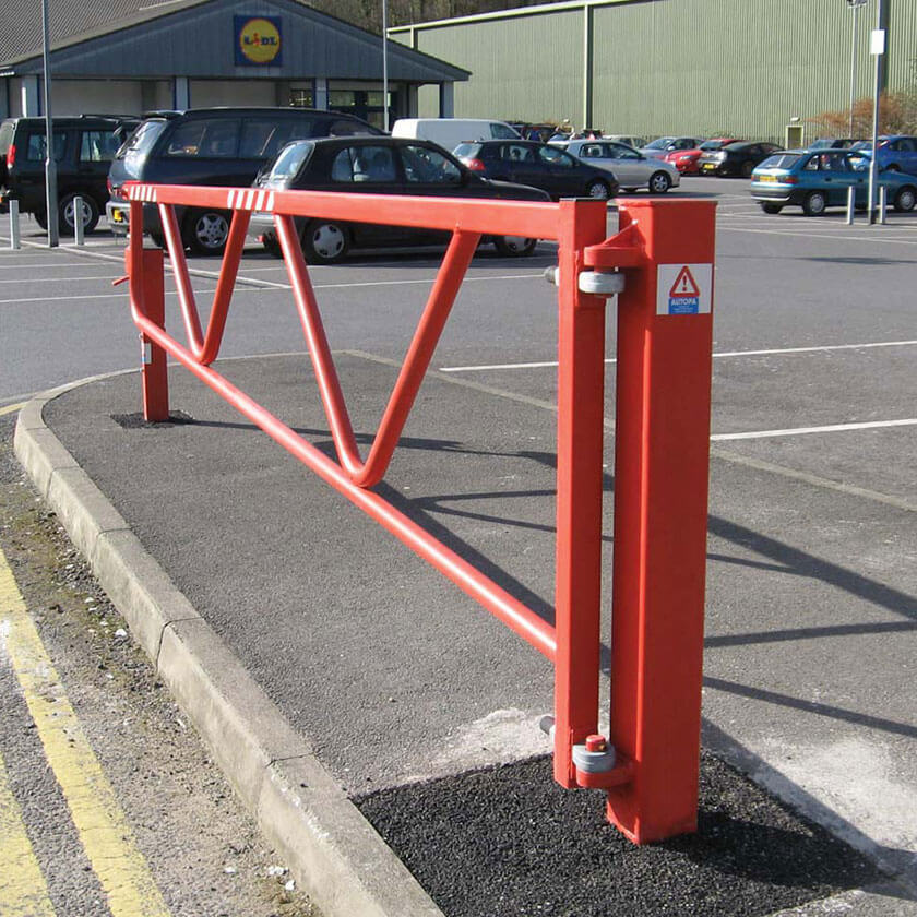 Opening swing gate barrier in Red