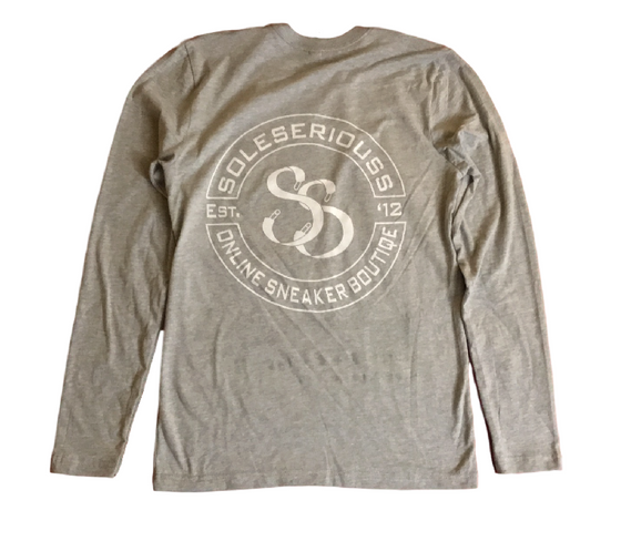 SOLESERIOUSS Stamp Tee Grey / White (L/S) - Sole Seriouss