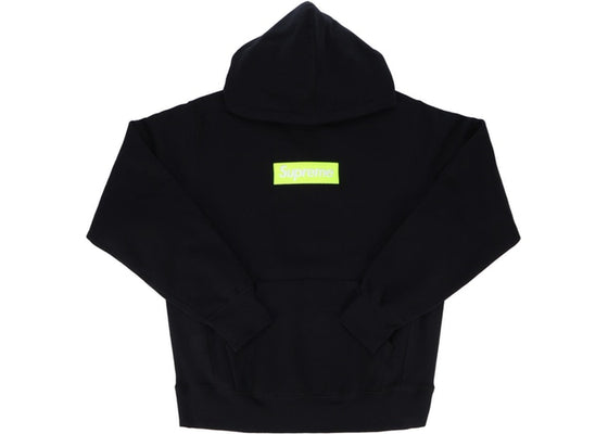 Supreme Box Logo Hooded Sweatshirt Black / Volt FW17