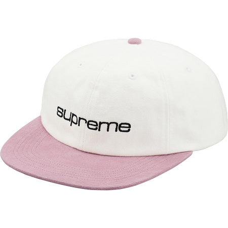 Supreme Denim Suede Compact Logo 6-Panel White SS18