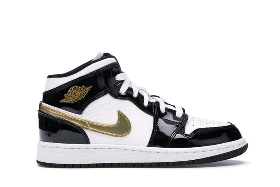 Air Jordan 1 Mid Patent Leather Black / Gold (GS)