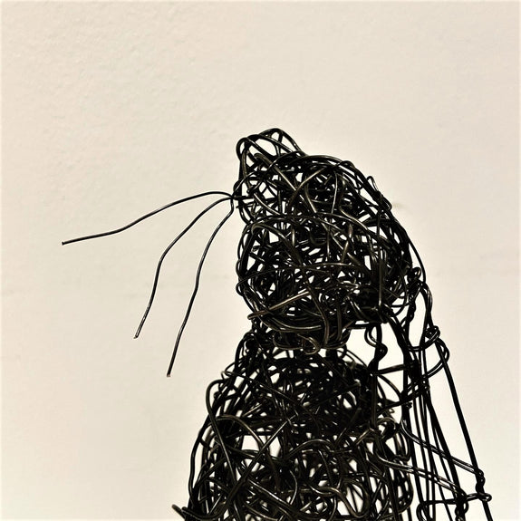 Moon-Gazing Hare - Black wire sculpture