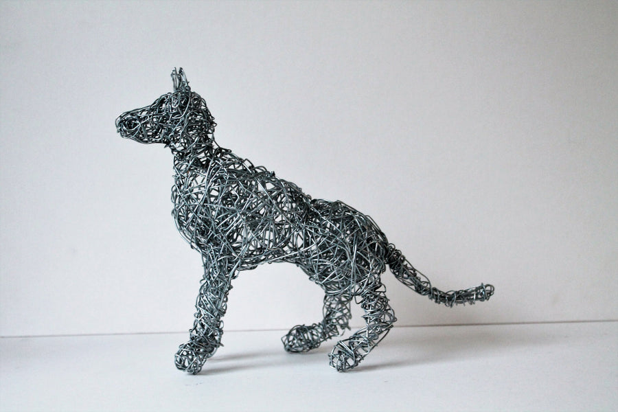 Sitting Wire Dog Sculpture