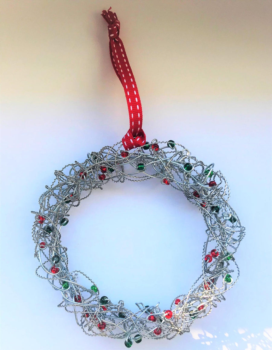 Handmade Wire and Glass Bead Christmas Wreath Decoration