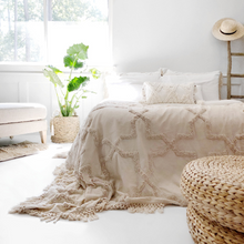 Load image into Gallery viewer, Sandy Handwoven Bedspread Set - Natural