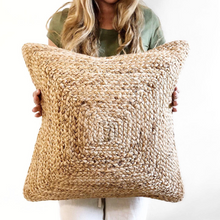 Load image into Gallery viewer, jute lumbar pillow, bohemian lumbar pillow, long boho pillow, jute pillows, brown boho pillow, natural fibers, textured pillows, coastal bohemian pillows, coastal pillows, coastal homes, bohemian homes, beach life, rv essentials, beach essentials, rv decor, beach bungalow