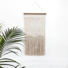 Load image into Gallery viewer, bohemian wall hanging, woven art, ivory & white boho wall hanging, macrame wall hanging, macrame art, fringe boho art, fringe boho wall art, bohemian wall art, modern wall art, vintage wall art, modern wall art, fabric wall art, contemporary wall art, hanging art, boho wall hanging, beige wall hanging, white wall hanging, cream wall hanging, natural wall hanging, natural fiber wall hanging