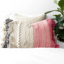 Load image into Gallery viewer, pink bohemian pillow, ivory & black boho pillow, textured pillow, anthropology pillows, fringe boho pillow, woven boho pillow, pink throw blanket, fuccia boho pillow, pink cactus silk pillow, gray cactus silk pillow, black boho pillow, colorful pillows, modern pink pillow, coastal boho studio, nordic designs, scandinavian pink pillow, long boho pillow, lumbar pillow, soft long cushion, decorative pillow