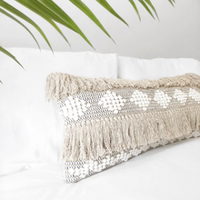 Load image into Gallery viewer, Lumbar boho pillow, long soft bohemian pillow cover, ivory & black long pillow, natural color long pillow, boho pillow, beige bohemian pillow, textured long pillow, beige lumbar pillow, white long pillow, bohemian pillows, bohemian decor, coastal boho studio, bohemian textiles, woven textiles, handwoven textiles, fringe boho pillow, woven boho pillow, chevron long pillow, boho decor, pompom lpillow, fringe boho long pillow, ivory and black long modern pillow, boho cushions, textured long pillow