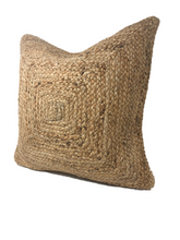 Load image into Gallery viewer, jute lumbar pillow, bohemian lumbar pillow, long boho pillow, jute pillows, brown boho pillow, natural fibers, textured pillows, coastal bohemian pillows, coastal pillows, coastal homes, bohemian homes, beach life, rv essentials, beach essentials, rv decor, beach bungalow, boho pillow