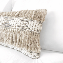 Load image into Gallery viewer, Lumbar boho pillow, long soft bohemian pillow cover, ivory & black long pillow, natural color long pillow, boho pillow, beige bohemian pillow, textured long pillow, beige lumbar pillow, white long pillow, bohemian pillows, bohemian decor, coastal boho studio, bohemian textiles, woven textiles, handwoven textiles, fringe boho pillow, woven boho pillow, chevron long pillow, boho decor, pompom lpillow, fringe boho long pillow, ivory and black long modern pillow, boho cushions, decorative long pillow