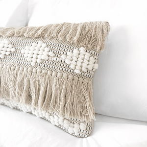 Lumbar boho pillow, long soft bohemian pillow cover, ivory & black long pillow, natural color long pillow, boho pillow, beige bohemian pillow, textured long pillow, beige lumbar pillow, white long pillow, bohemian pillows, bohemian decor, coastal boho studio, bohemian textiles, woven textiles, handwoven textiles, fringe boho pillow, woven boho pillow, chevron long pillow, boho decor, pompom lpillow, fringe boho long pillow, ivory and black long modern pillow, boho cushions, decorative long pillow