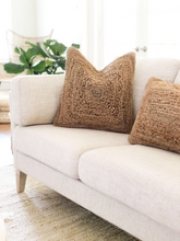 Load image into Gallery viewer, jute lumbar pillow, bohemian lumbar pillow, long boho pillow, jute pillows, brown boho pillow, natural fibers, textured pillows, coastal bohemian pillows, coastal pillows, coastal homes, bohemian homes, beach life, rv essentials, beach essentials, rv decor, beach bungalow, bohemian look