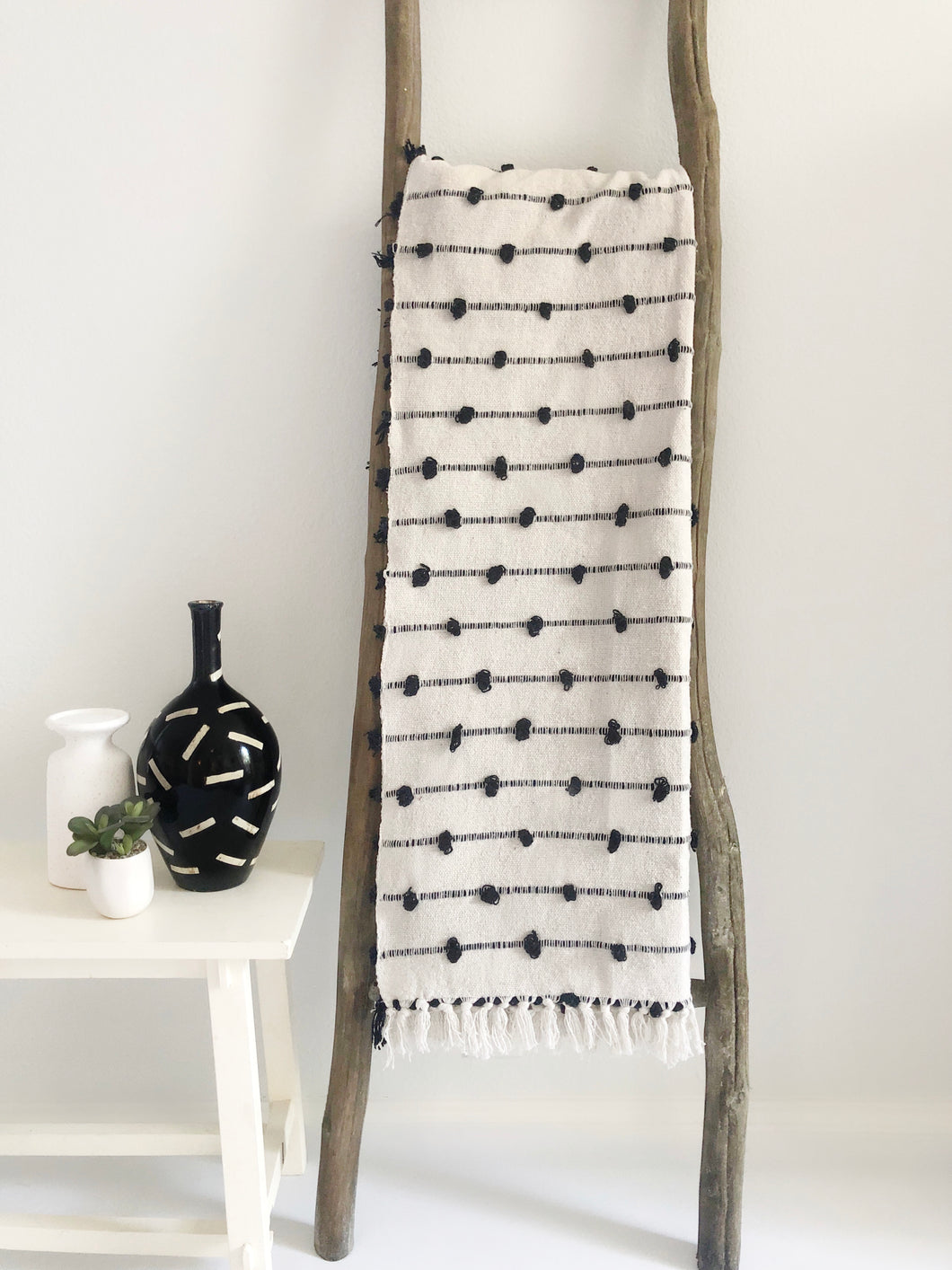 Cotton Sea Throw Blanket - Black