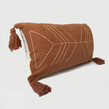 Load image into Gallery viewer, terracota lumbar pillow, terra cotta bohemian pillow, long boho pillow, mustard pillow, textured boho pillow, boho woven pillow, bohemian pillows, burnt orange bohemian pillow, vintage long pillow, lumbar mustad pillow, mustard lumbar pillow, pompom pillow, yellow pillow, pompom boho pillow, nazca pillow, moroccan pillows, hand stitched pillow, stitch by grace, urban outfitters home, anthropology pillows, beach essentials, coastal bohemian homes, coastal boho studio, earthy tones, pantone 2020