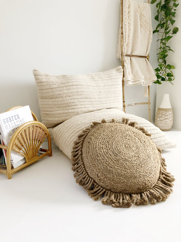 Round Koko Jute Pillow Cover