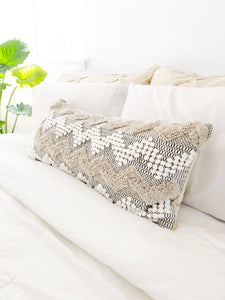 Lumbar boho pillow, long soft bohemian pillow cover, ivory & black long pillow, natural color long pillow, boho pillow, beige bohemian pillow, textured long pillow, beige lumbar pillow, white long pillow, bohemian pillows, bohemian decor, coastal boho studio, bohemian textiles, woven textiles, handwoven textiles, fringe boho pillow, woven boho pillow, chevron long pillow, boho decor, pompom lpillow, fringe boho long pillow, ivory and black long modern pillow, trendy pillow