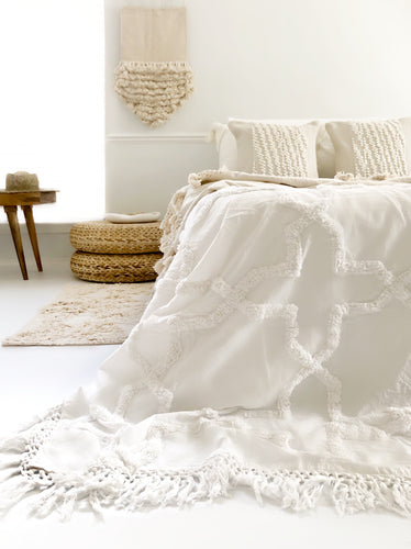 Sandy Handwoven Bedspread - Egg Shell | PRE-ORDER |