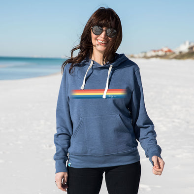 Thirty A Retro Stripe Recycled Hoodie Sweatshirt