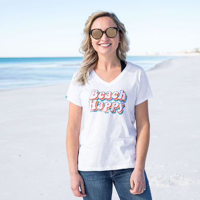 Retro Beach Happy Recycled V-Neck