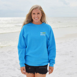 Beach Strong Recycled Crewneck Sweatshirt - Proceeds Benefit Breast Cancer Awareness