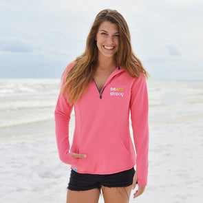 Women's Recycled Quarter-Zip Beach Strong Sweatshirt - Proceeds Benefit Breast Cancer Awareness
