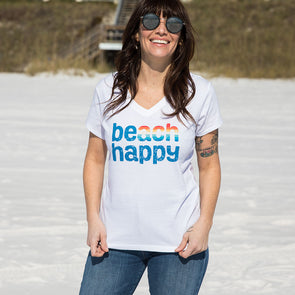 Rainbow Beach Happy Recycled V-Neck