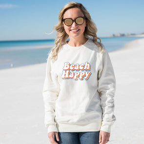 Retro Beach Happy Recycled Crewneck Sweatshirt