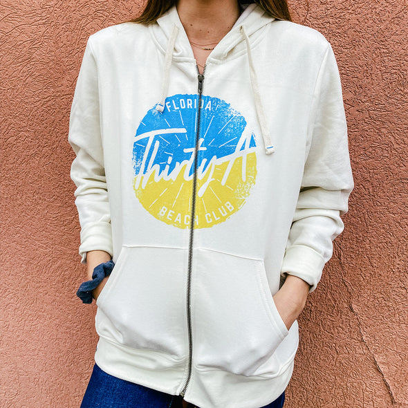 Thirty A Beach Club Recycled Full Zip Sweatshirt